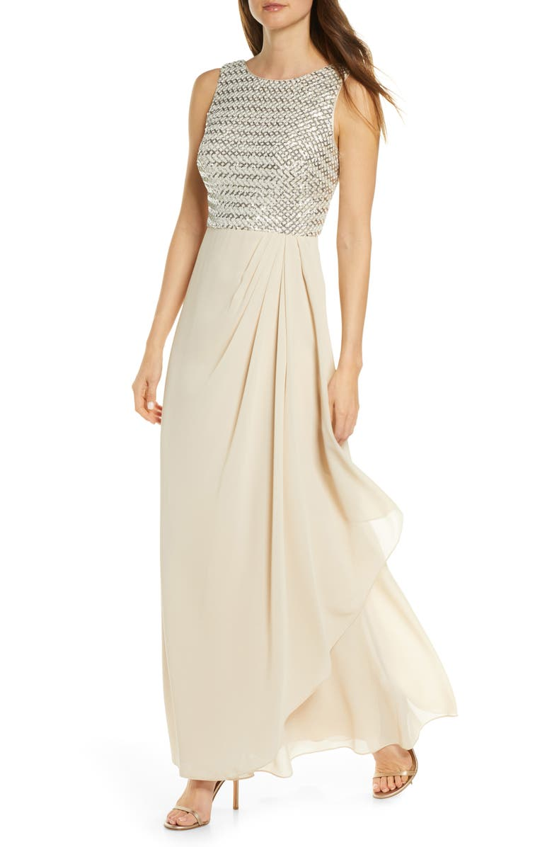 VINCE CAMUTO Sequin Chiffon Gown, Main, color, CHAMPAGNE