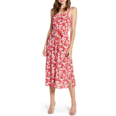Chelsea28 Tie Front Print Sundress, Red