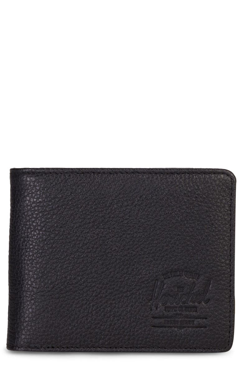 HERSCHEL SUPPLY CO. Hank Leather Wallet, Main, color, BLACK PEBBLED LEATHER