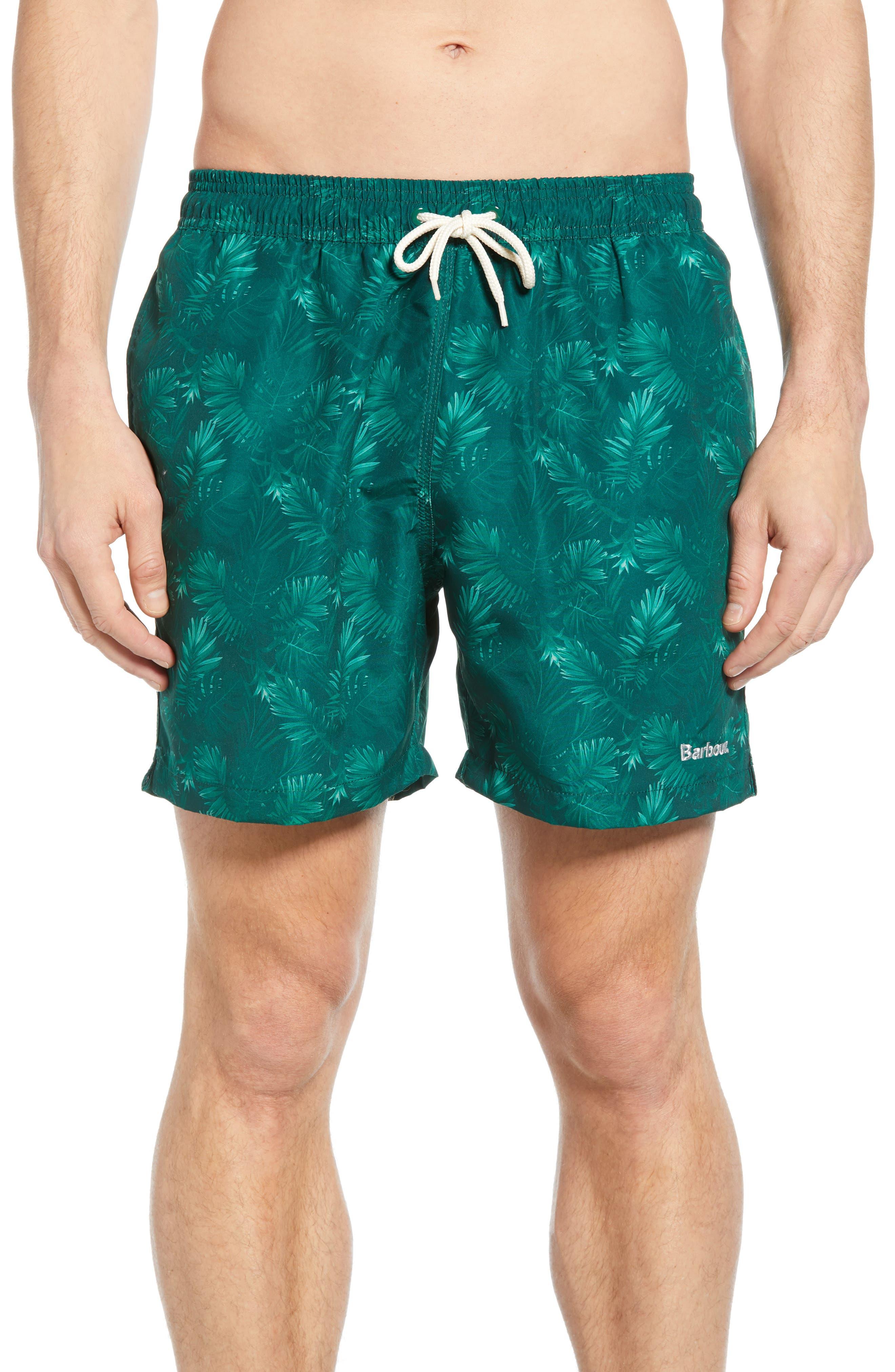 Barbour Tropical Print Swim Trunks, Green