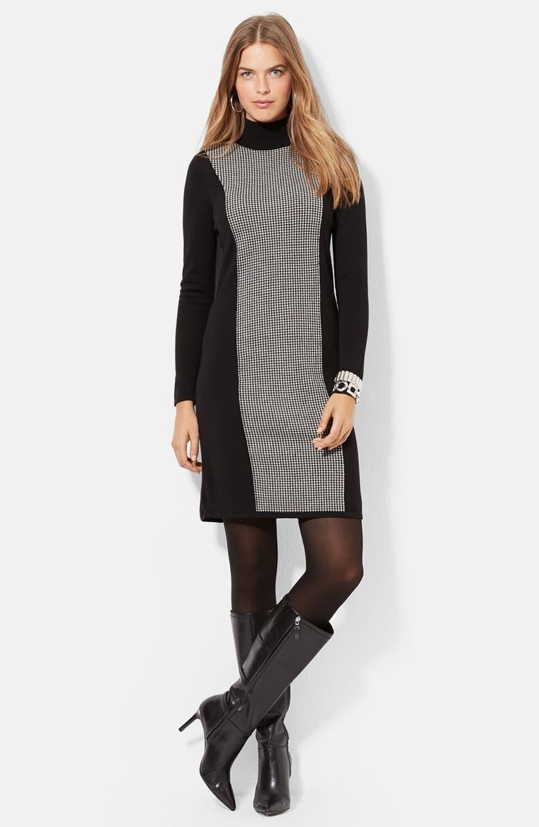 Lauren Ralph Lauren Houndstooth Block Wool Turtleneck Dress (Plus ...