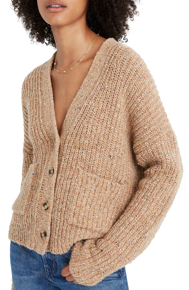 MADEWELL Speckled Rib Cardigan Sweater, Main, color, MARLED ACORN
