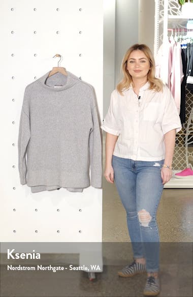 Rib High/Low Cashmere Sweater, sales video thumbnail