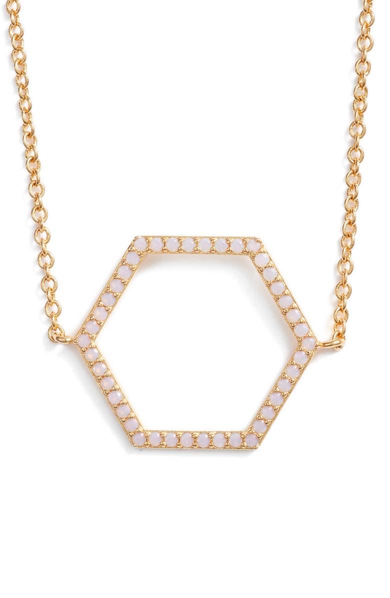 STERLING FOREVER Geo Daze Pendant Necklace, Main, color, PINK/ GOLD