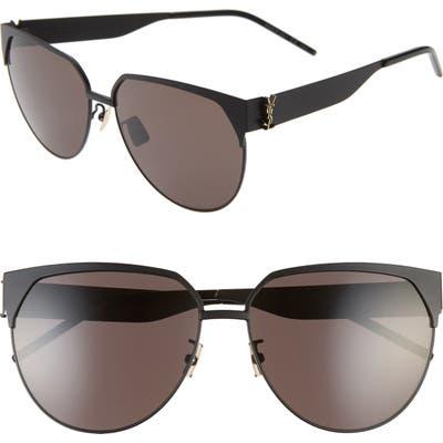 Saint Laurent 61Mm Cat Eye Sunglasses - Semimatte Black W/ Gold Logo
