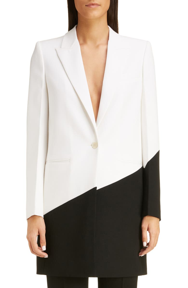 GIVENCHY Long Bicolor Wool Blazer, Main, color, BLACK NATURAL