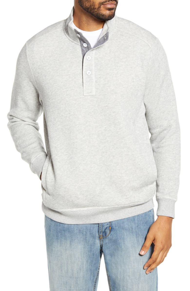 TOMMY BAHAMA Via Norte Half Button Pullover, Main, color, GREY HEATHER