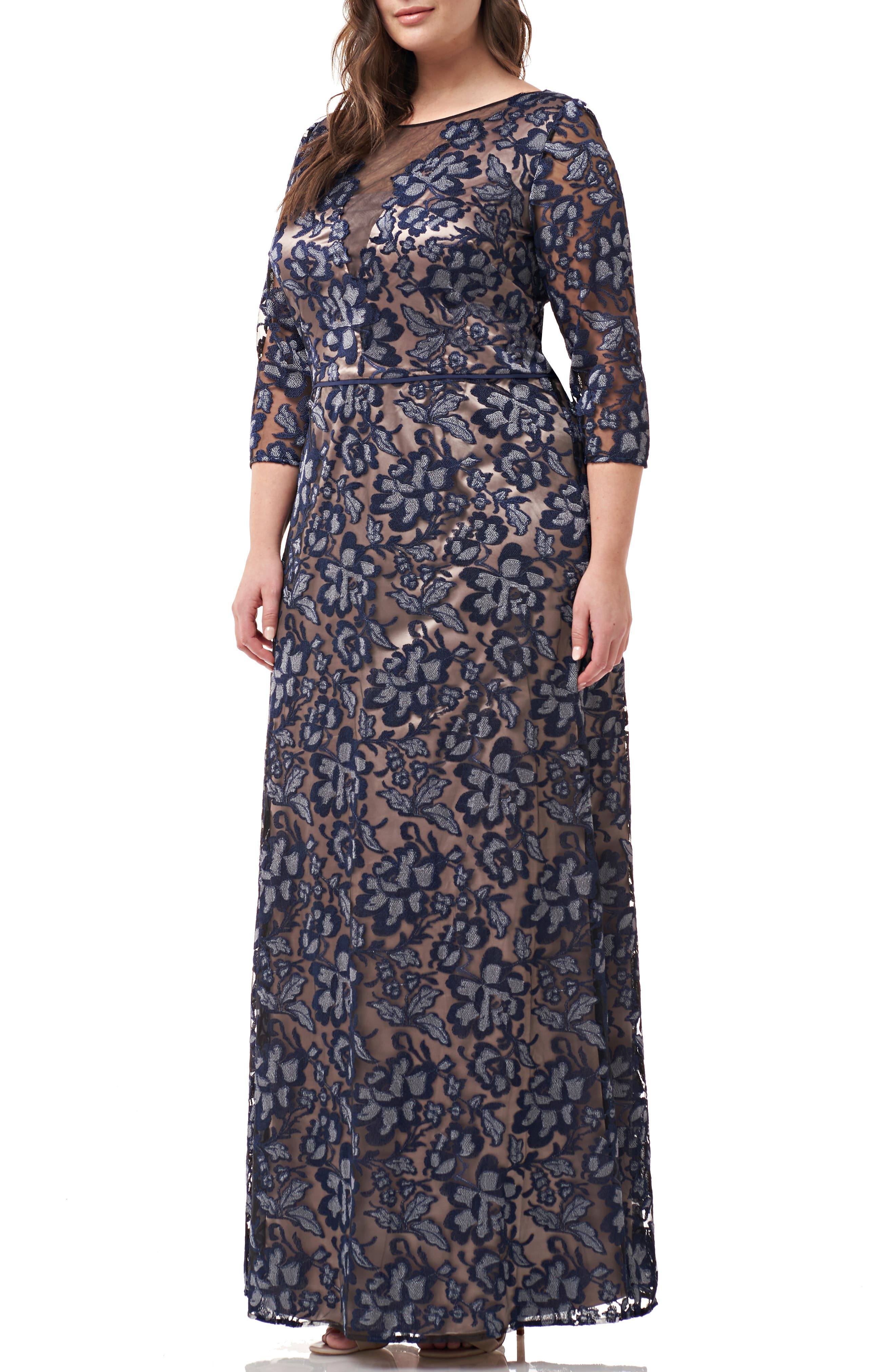 ,                             Floral Embroidered Mesh Gown,                             Main thumbnail 1, color,                             NAVY SILVER