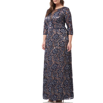 Plus Size Js Collections Floral Embroidered Mesh Gown, Blue