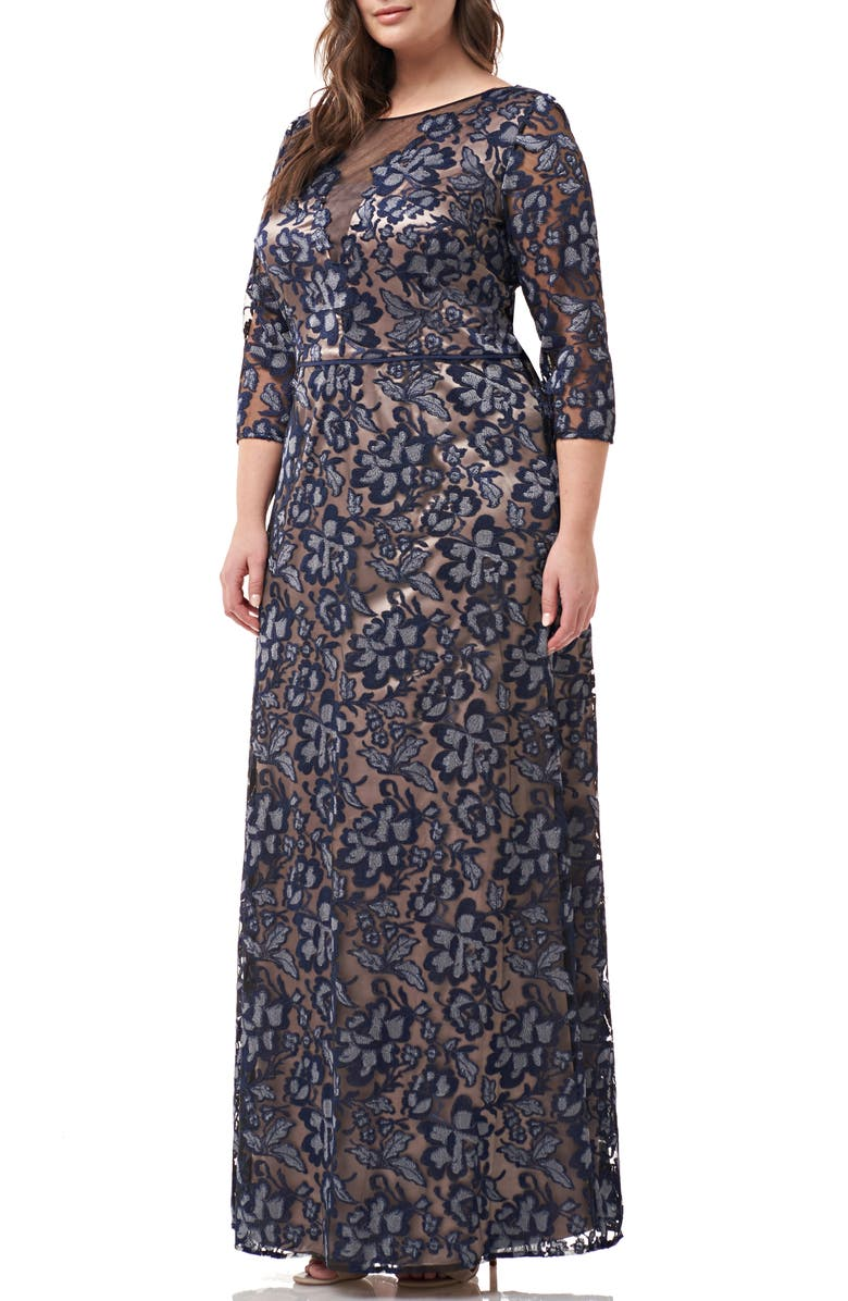 JS COLLECTIONS Floral Embroidered Mesh Gown, Main, color, NAVY SILVER