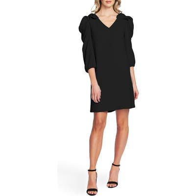 Cece Bow Detail Ruffle Sleeve Crepe Dress, Black