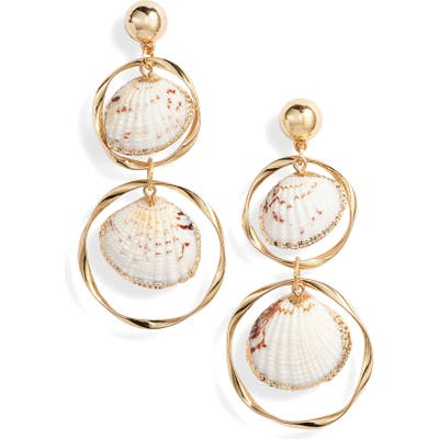 Ettika Double Shell & Hoop Drop Earrings