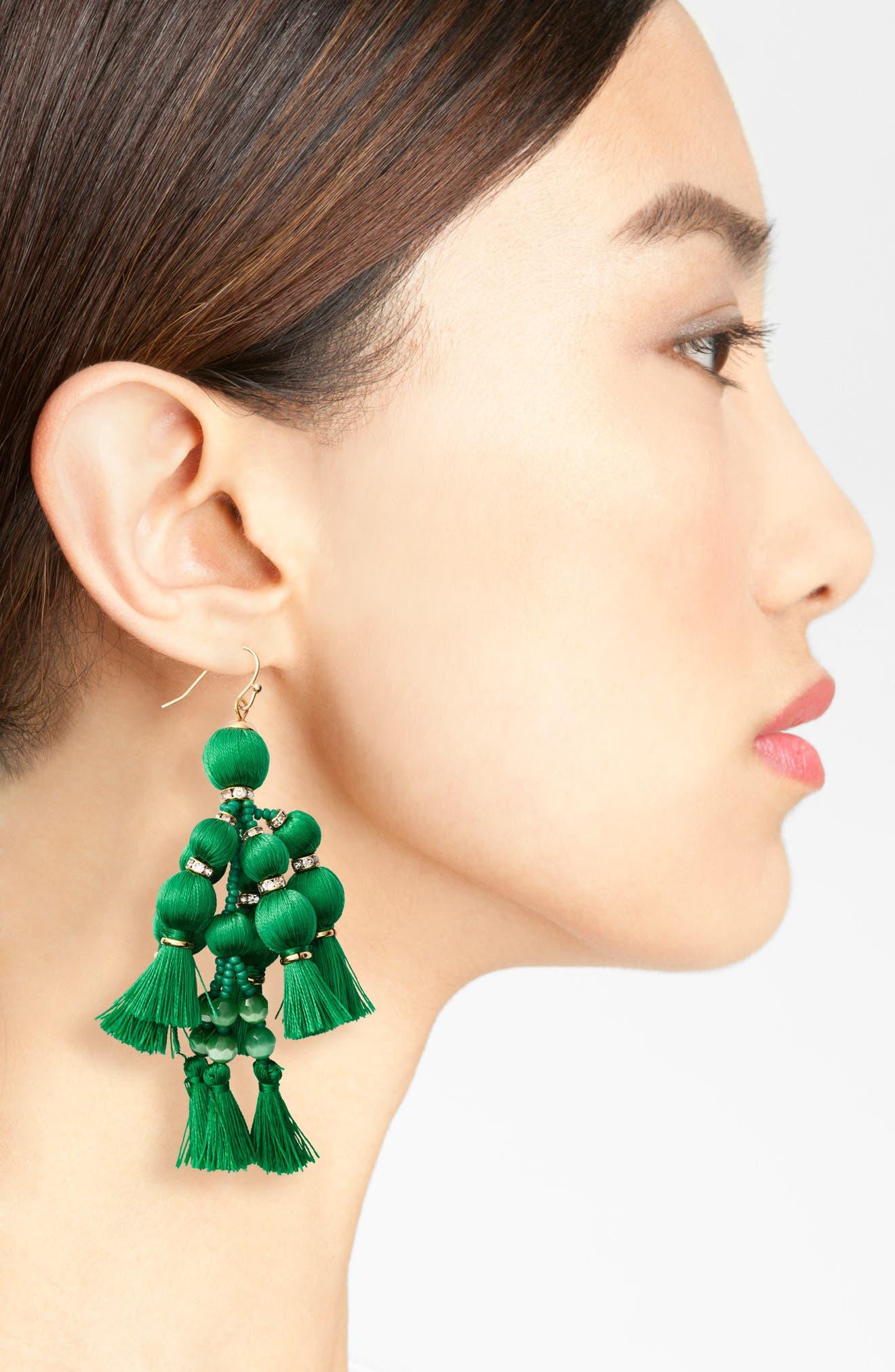 ,                             pretty pom tassel drop earrings,                             Alternate thumbnail 3, color,                             300