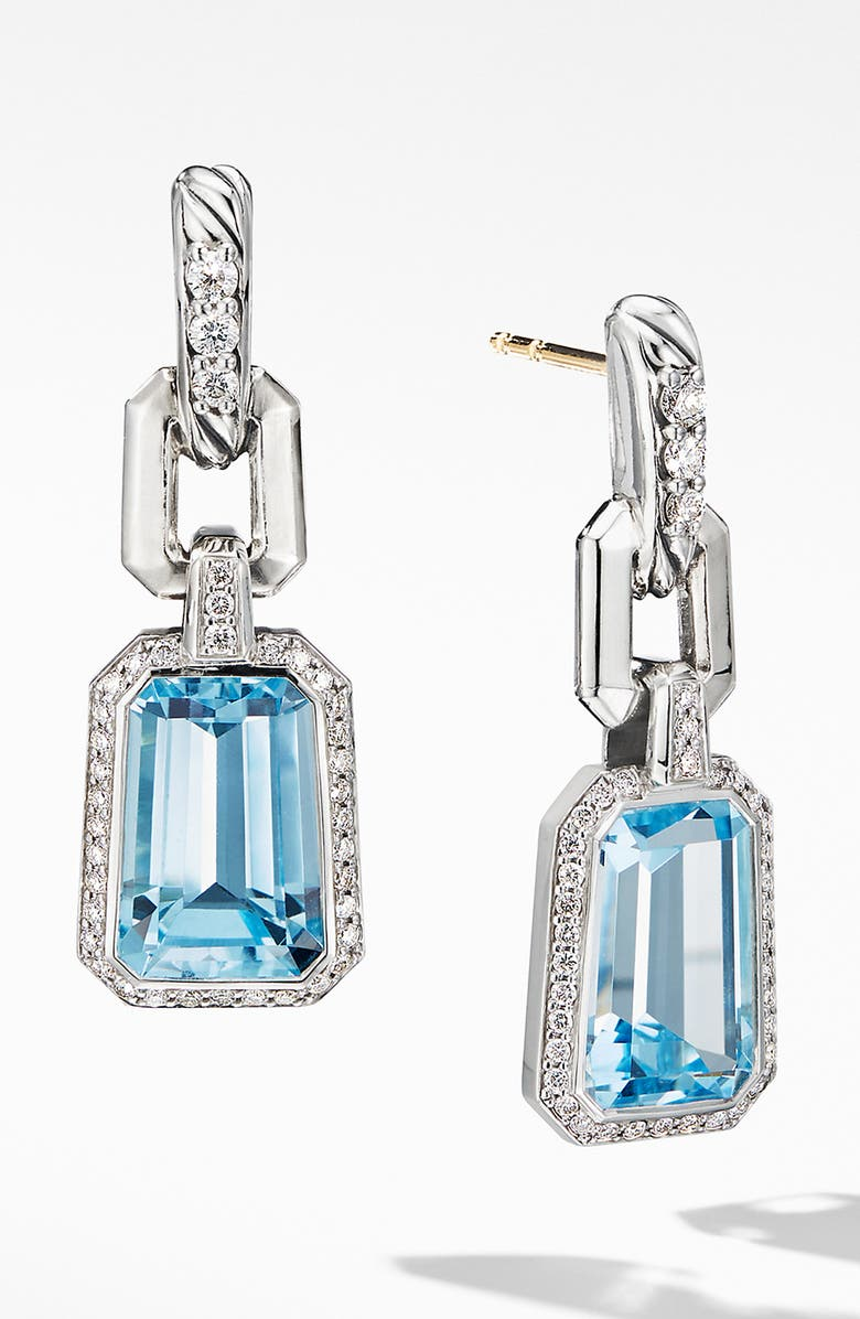 DAVID YURMAN Stax Drop Earrings with Diamonds, Main, color, SKY BLUE TOPAZ