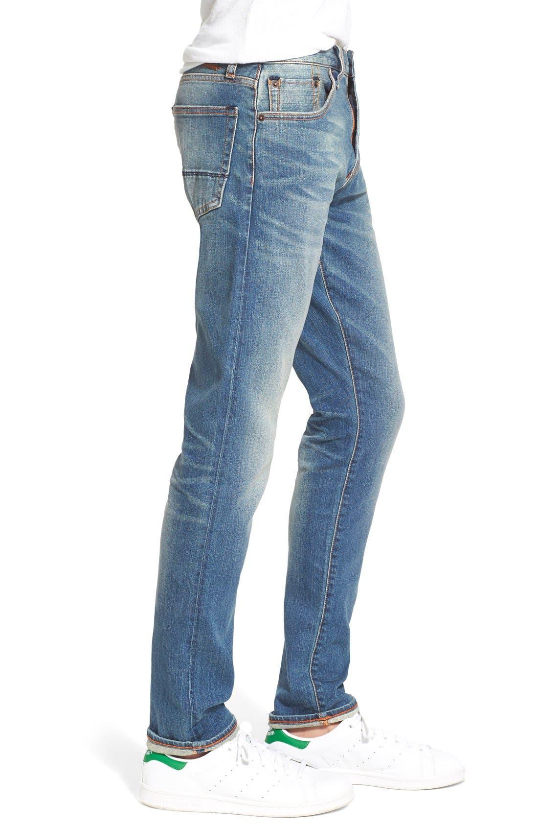 ,                             'Jim' Skinny Fit Selvedge Jeans,                             Alternate thumbnail 4, color,                             421