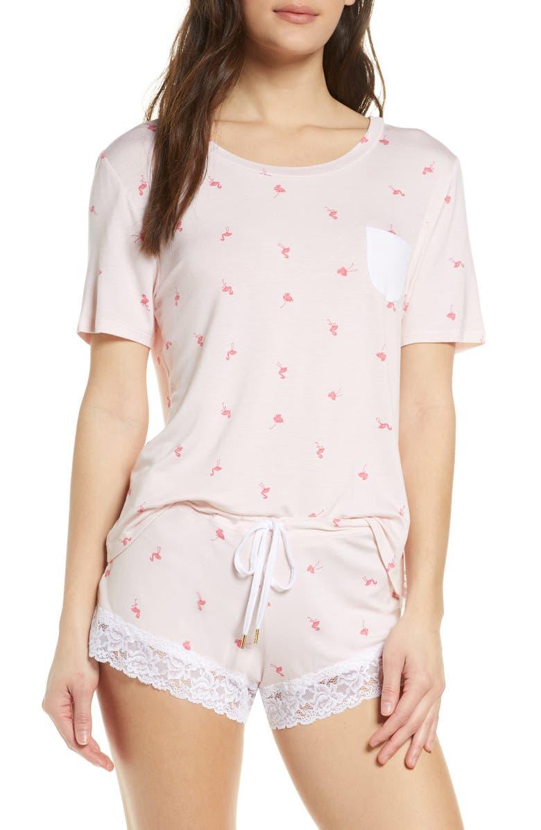 HONEYDEW INTIMATES Something Sweet Short Pajamas, Main, color, SPRITZER FLAMINGOS