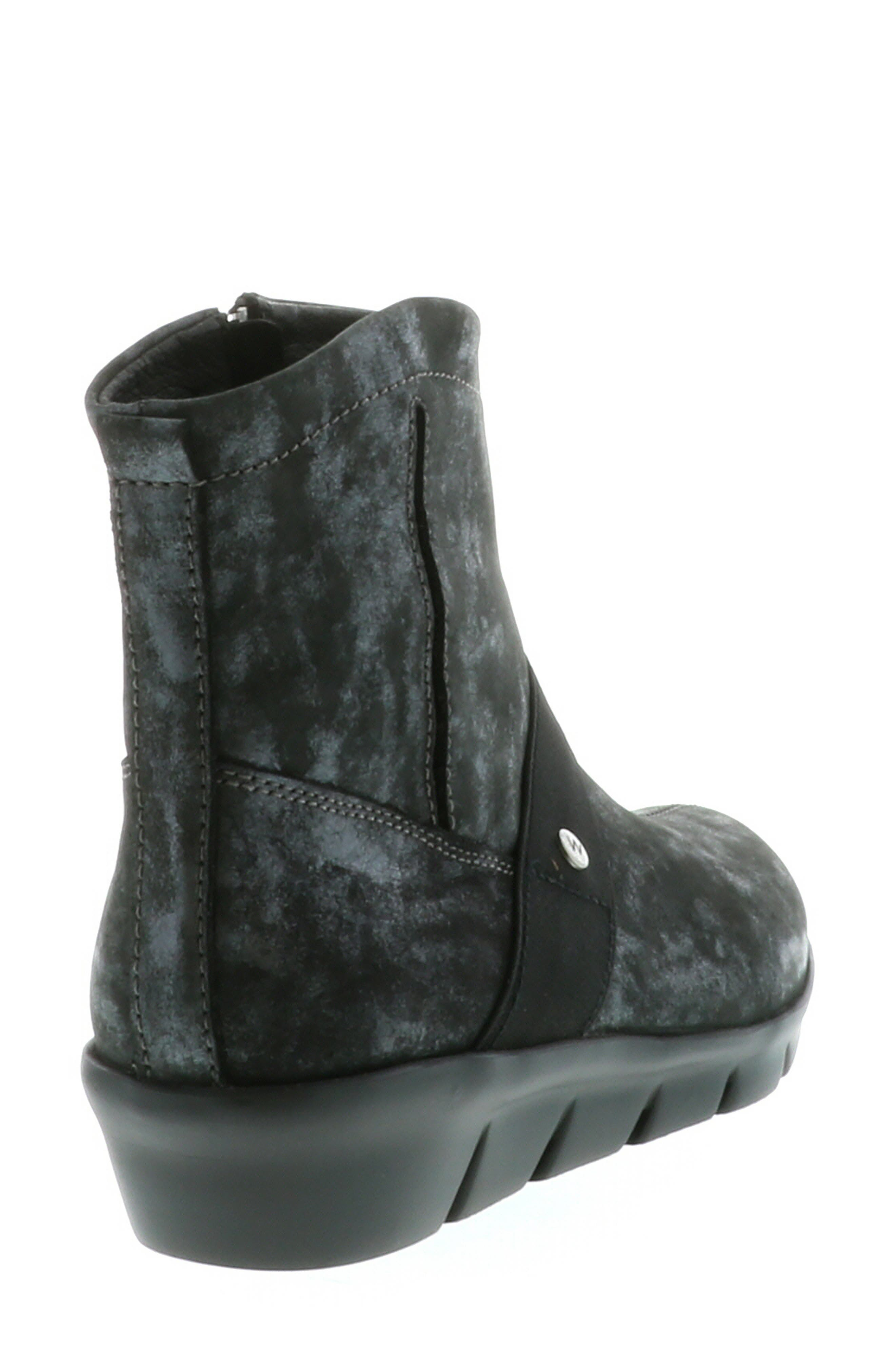 ,                             Omni Wedge Bootie,                             Alternate thumbnail 12, color,                             BLACK NUBUCK LEATHER