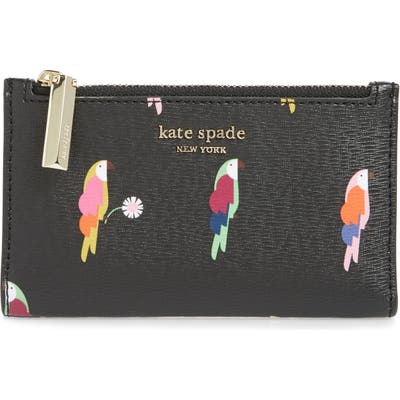 Kate Spade New York Small Sylvia Flock Party Leather Bifold Wallet - Black