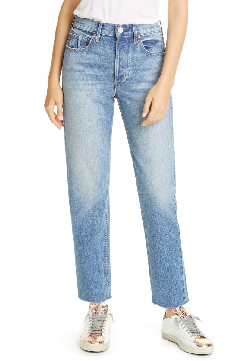 TRAVE Constance High Waist Straight Leg Jeans, Main, color, 400