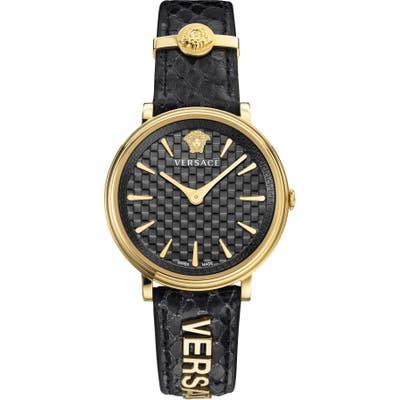 Versace V Circle Logo Snakeskin Leather Strap Watch,