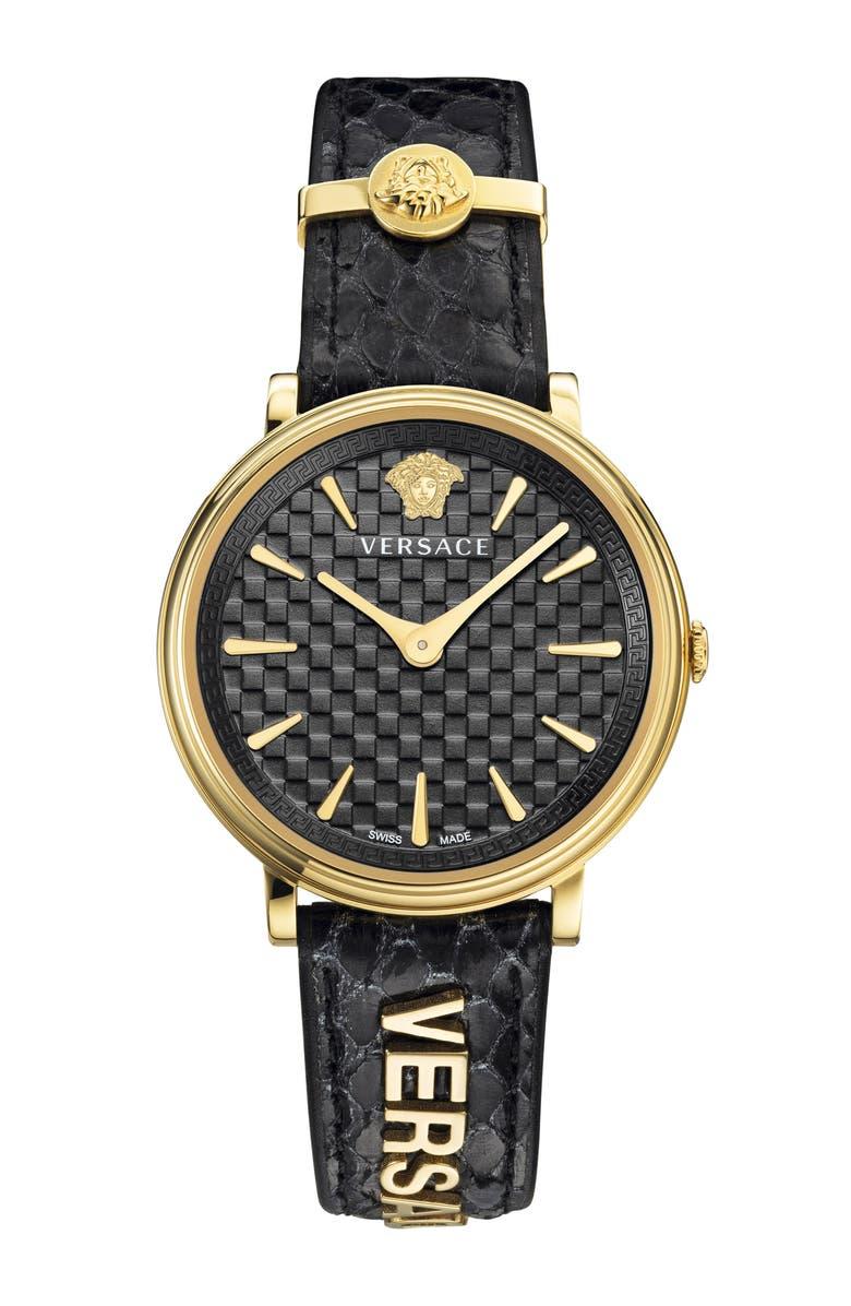 Versace V Circle Logo Snakeskin Leather Strap Watch 38mm