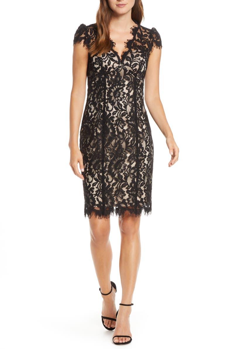 ELIZA J Floral Lace Cocktail Dress, Main, color, 001