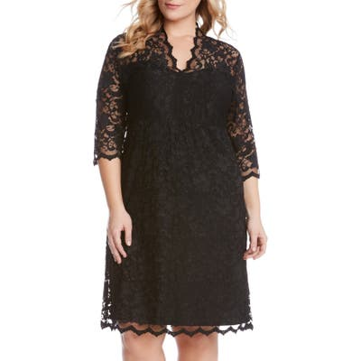 Plus Size Karen Kane Scalloped Stretch Lace Dress
