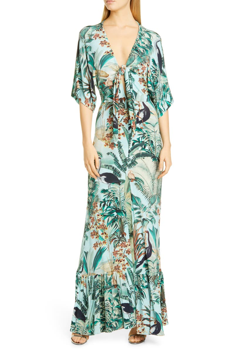 PATBO Eden Tie Front Jersey Gown, Main, color, 315