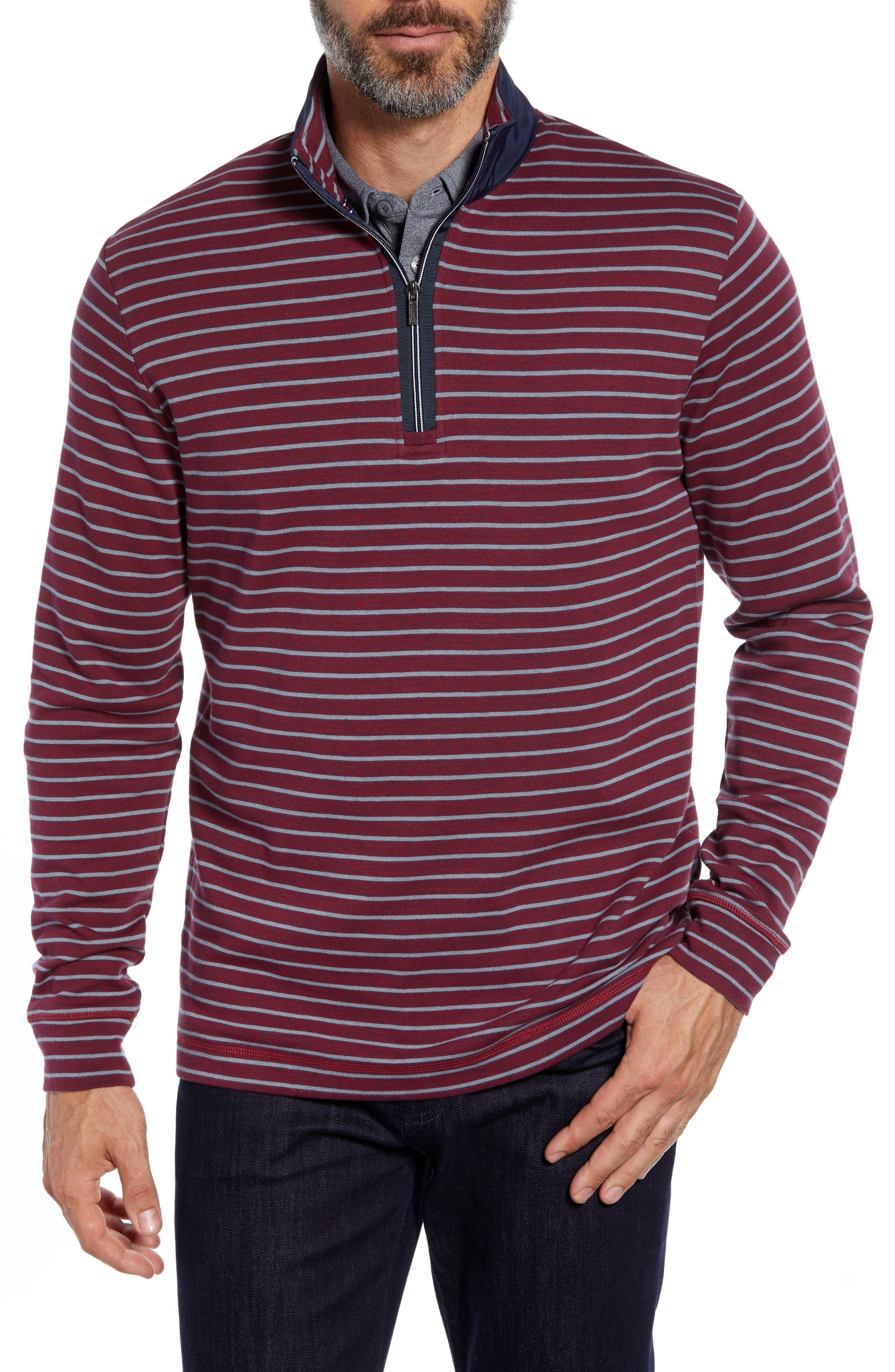Bugatchi Striped Long Sleeve Half Zip Pullover Sweater Sweatshirt