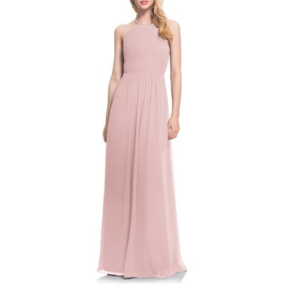 #levkoff Open Back Halter Neck Chiffon Gown, 8 (similar to 16W) - Pink