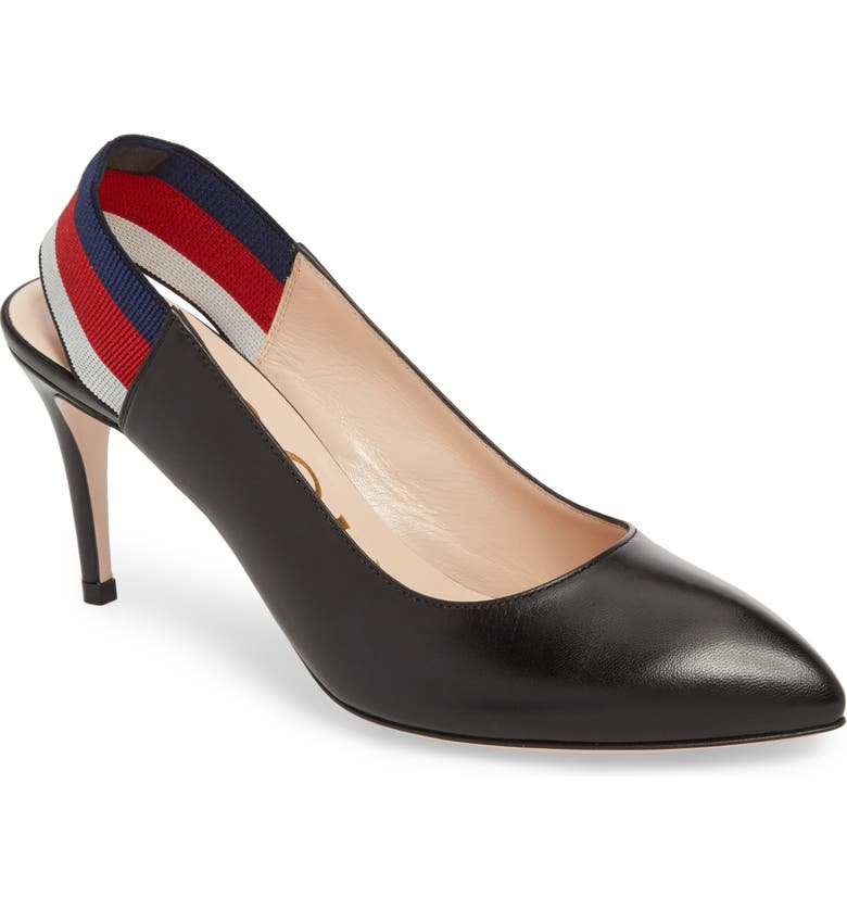 GUCCI Sylvie Slingback Pump, Main, color, BLACK