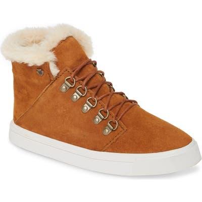 Minnetonka X Lottie Moss Faux Shearling High Top Sneaker, Brown