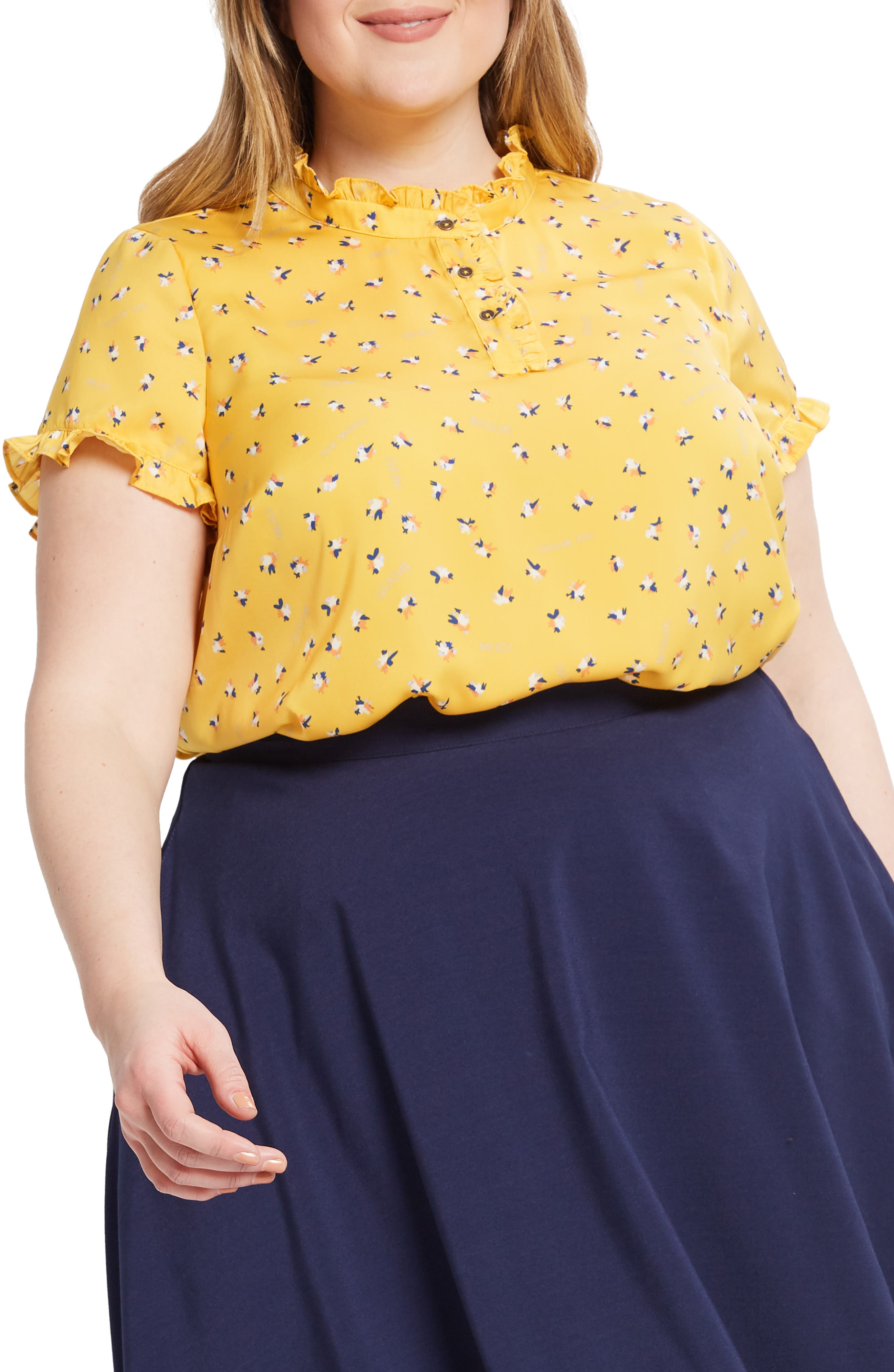 ,                             Form of Flattery Ruffle Top,                             Alternate thumbnail 3, color,                             YELLOW MULTI