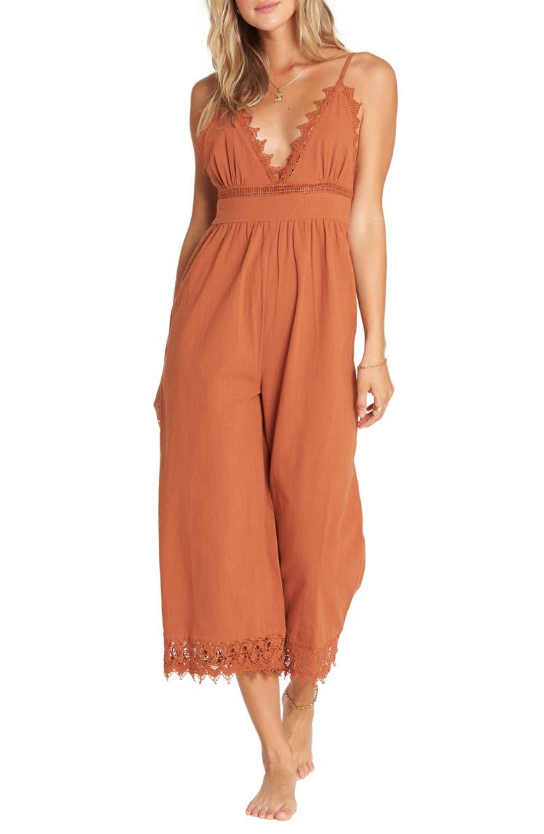 BILLABONG Lace and Lies Crop Jumpsuit, Main, color, 800