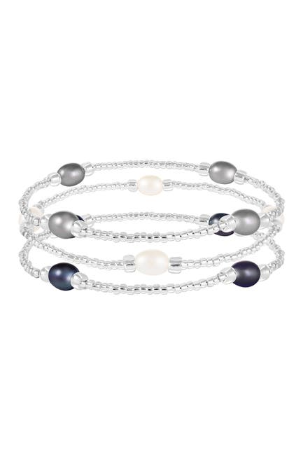 Image of Splendid Pearls 6-7mm Cultured Freshwater Pearl Beaded Elastic Bracelet Set
