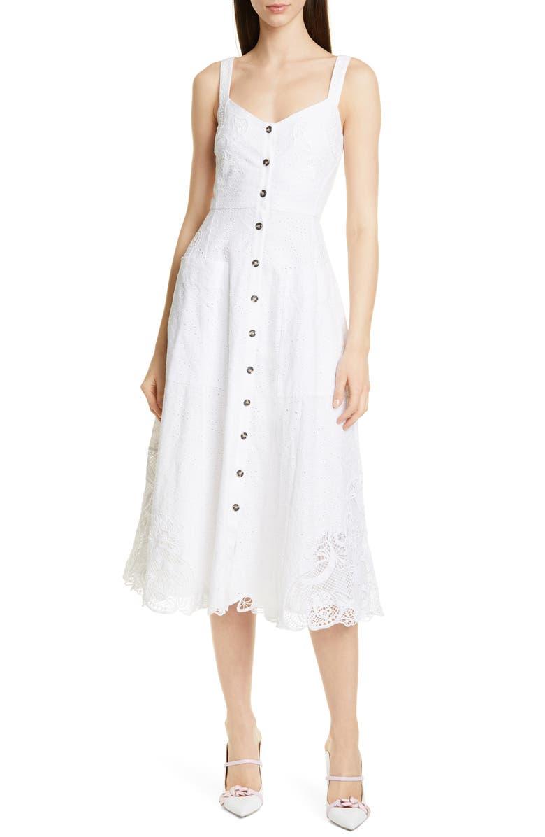 SALONI Fara Eyelet Midi Dress, Main, color, WHITE