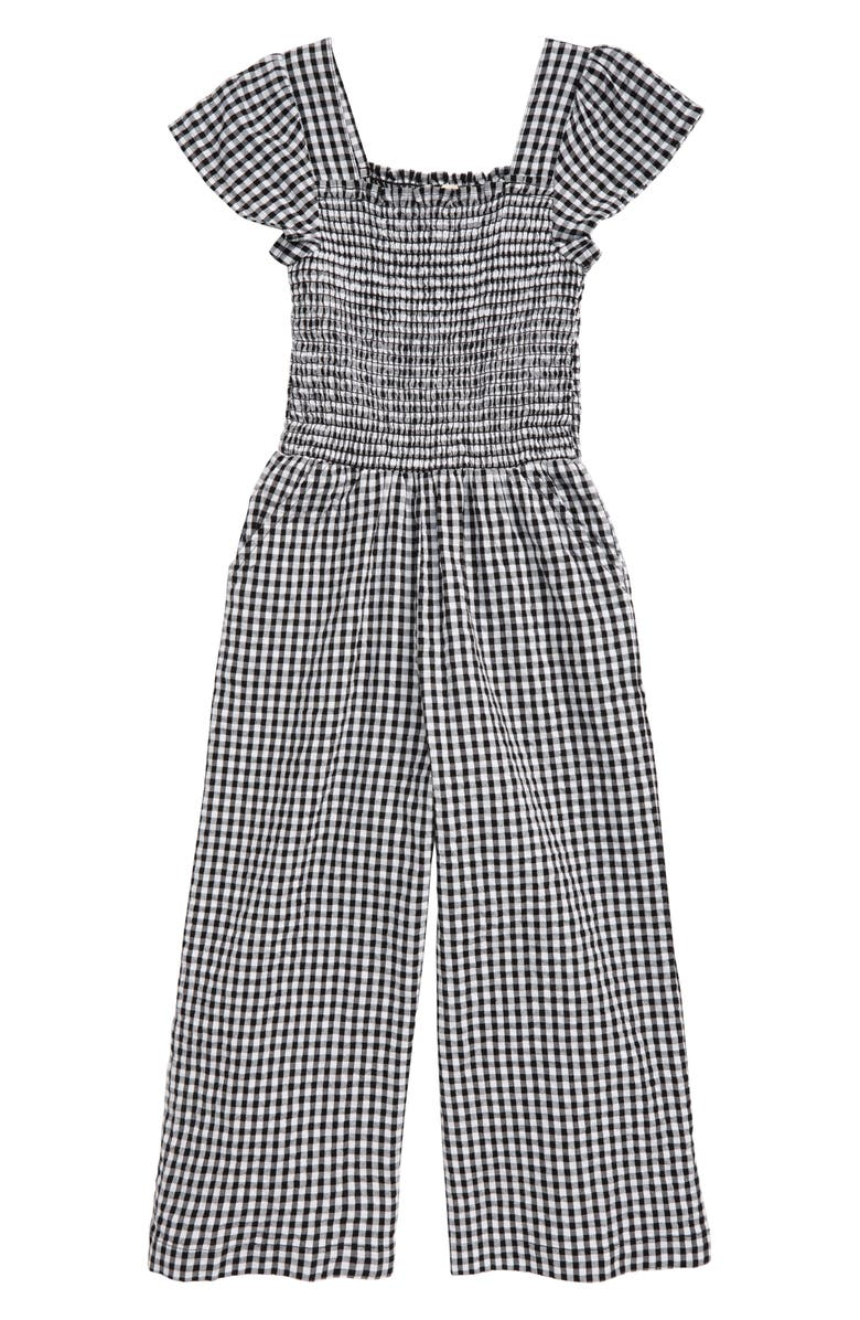TUCKER + TATE Boardwalk Gingham Jumpsuit, Main, color, WHITE- BLACK GINGHAM