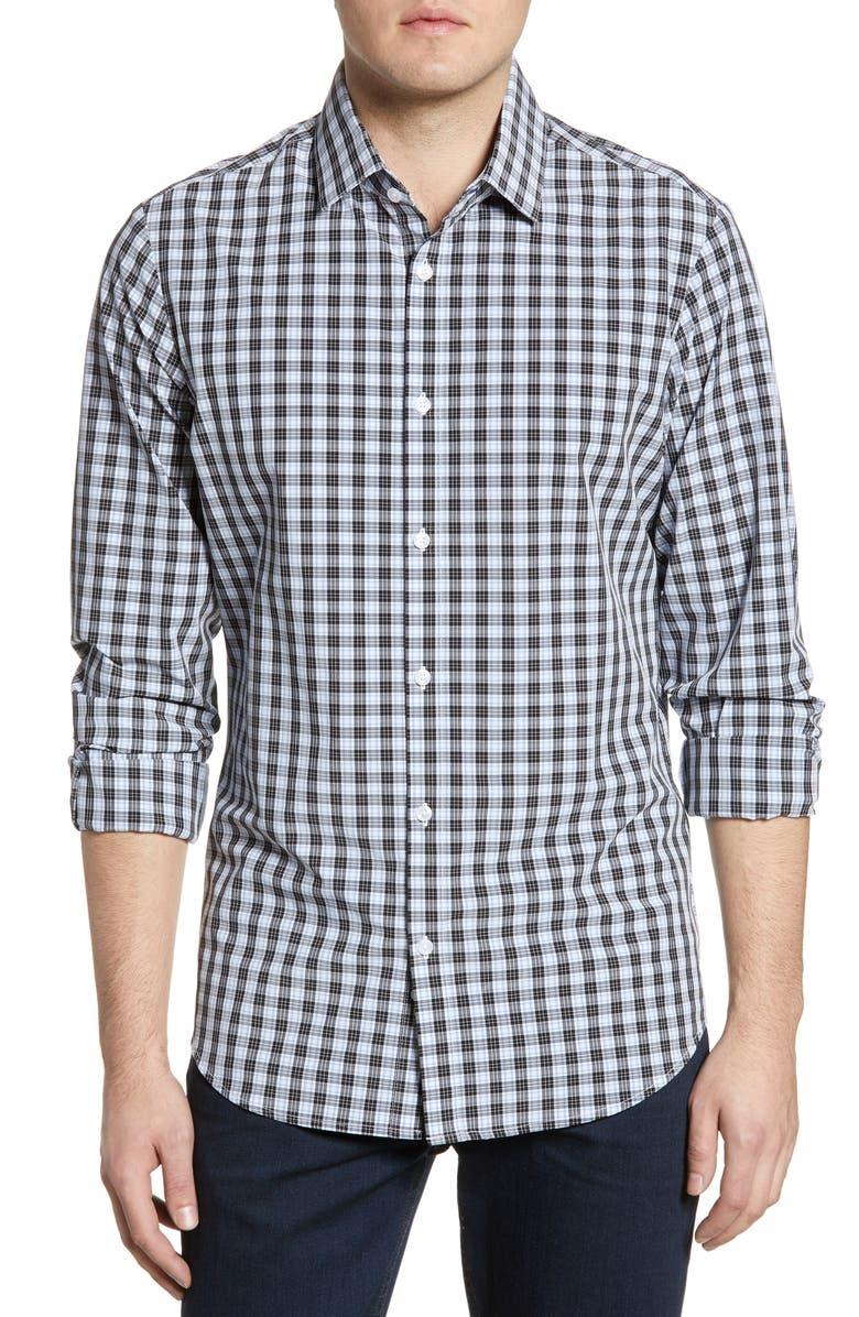 MIZZEN+MAIN Chester Blue Trim Plaid Shirt, Main, color, 496