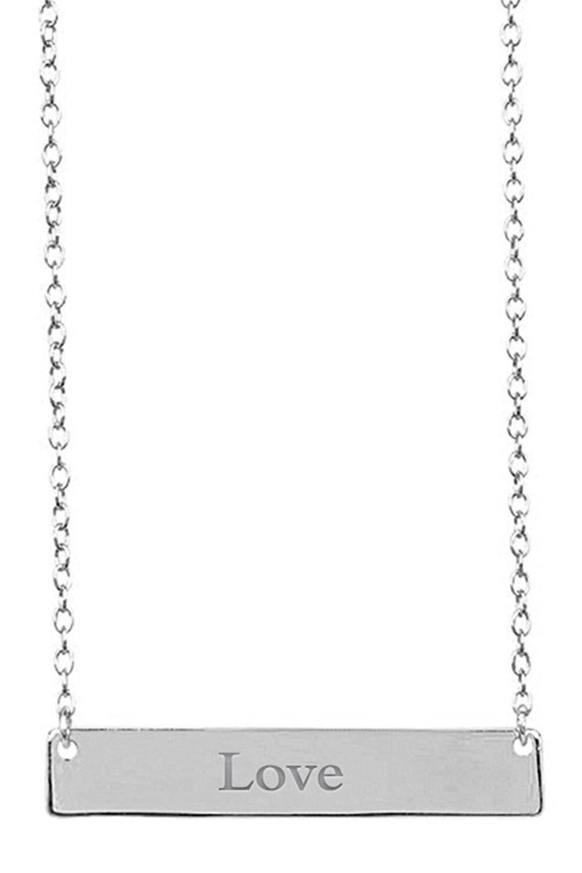 Image of Sterling Forever Sterling Silver Bar Pendant Necklace - Love