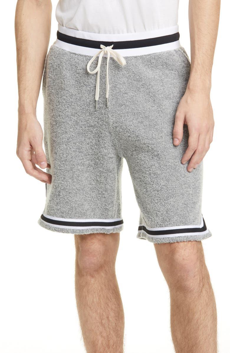 JOHN ELLIOTT Bouclé Wool Blend Shorts, Main, color, CEMENT