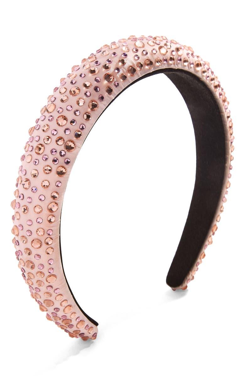 BAUBLEBAR Lily Crystal Headband, Main, color, PINK