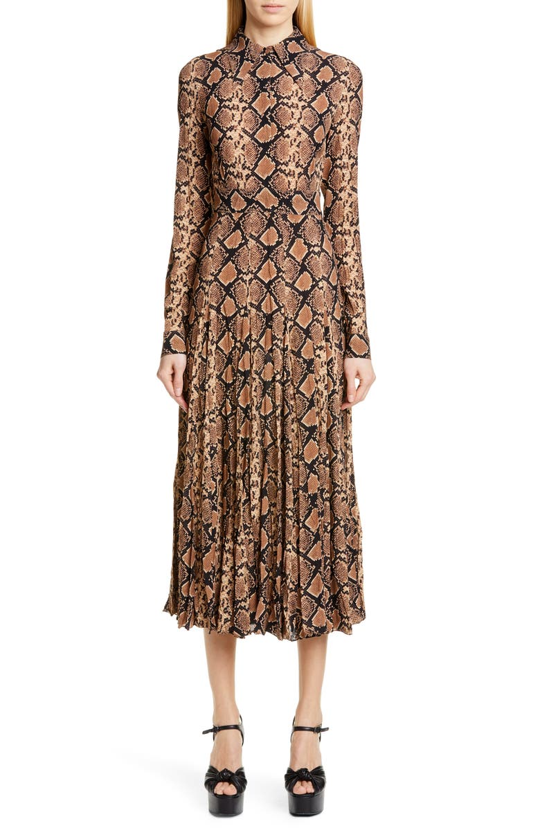 MICHAEL KORS COLLECTION Michael Kors Belted Long Sleeve Crushed Georgette Shirtdress, Main, color, SUNTAN/ BLACK