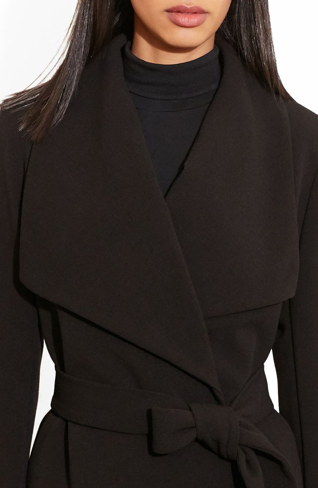 ,                             Belted Drape Front Coat,                             Alternate thumbnail 45, color,                             011
