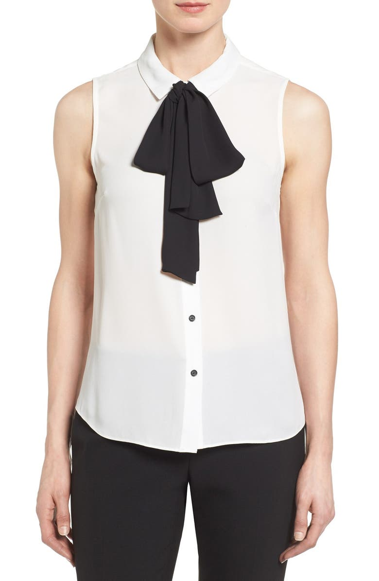 CECE Tie Neck Sleeveless Blouse, Main, color, 103