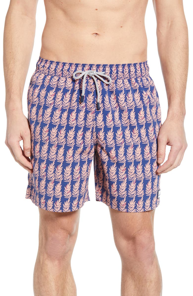 TOM & TEDDY Fern Print Swim Trunks, Main, color, NAVY/ PINK