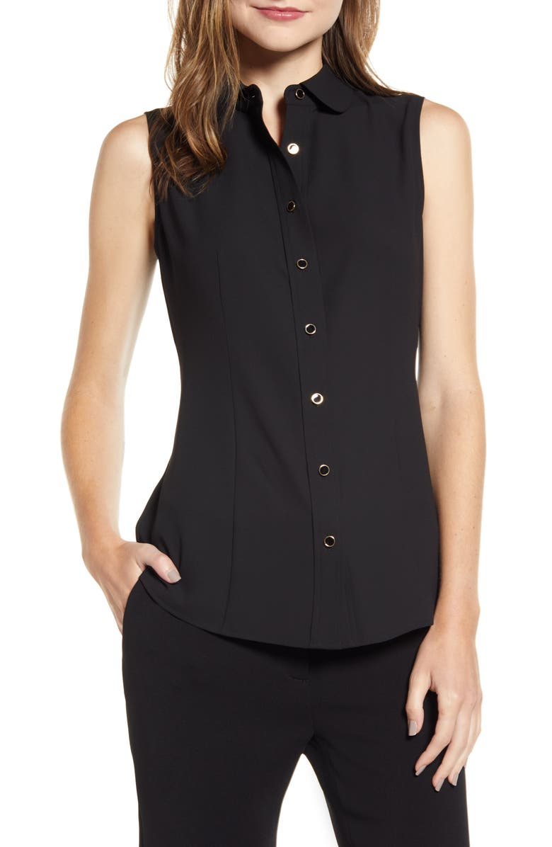 ANNE KLEIN Button Front Sleeveless Blouse, Main, color, ANNE BLACK