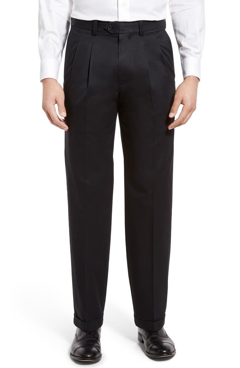 NORDSTROM MEN'S SHOP Classic Smartcare<sup>™</sup> Supima<sup>®</sup> Cotton Pleated Dress Pants, Main, color, BLACK CAVIAR