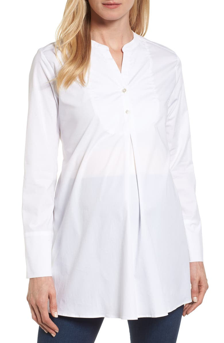 ISABELLA OLIVER Granville Tie Front Maternity Top, Main, color, PURE WHITE