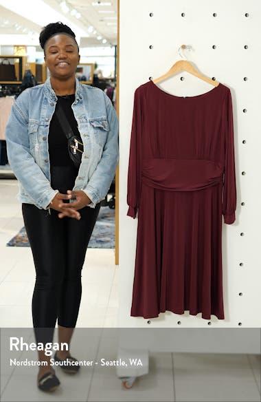 Ruched Waist Long Sleeve Jersey Dress, sales video thumbnail
