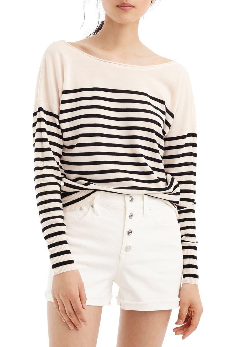 J.CREW Penny Stripe Merino Wool Sweater, Main, color, 010